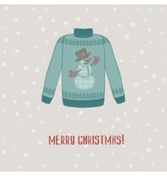 Christmas card sweater with snowman vector