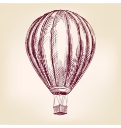 Hot air balloon airship or transport hand drawn vector