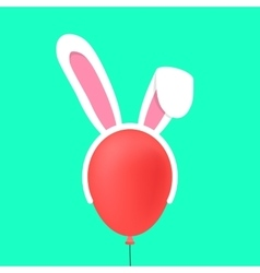 Rabbit ears mask on red baloon vector