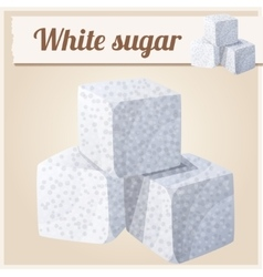 White sugar detailed icon vector