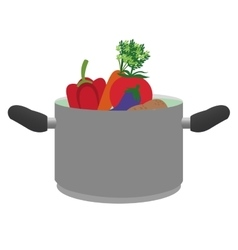 Pot with vegetables icon vector