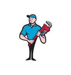 Plumber holding monkey wrench cartoon vector