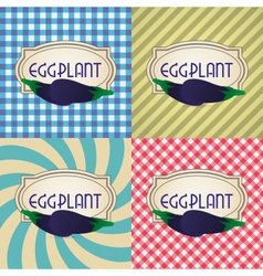 Four types of retro textured labels for eggplant vector