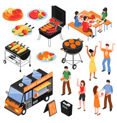 barbecue isometric set vector image vector image