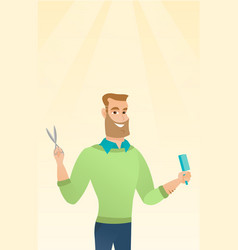 Barber holding comb and scissors in hands vector