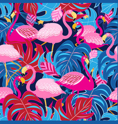 Beautiful bright tropical pattern of pink vector