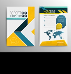brochure template design with world map vector image