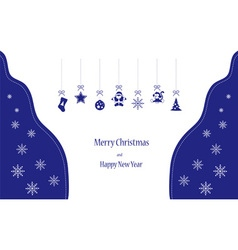 Christmas toys in blue colors vector