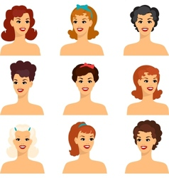 Collection of portraits beautiful pin up girls vector
