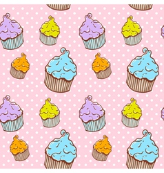 Cute vintage cupcake seamless texture vector image