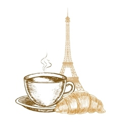 Eiffel Tower Croissant and Coffee Cup in Paris vector image vector image