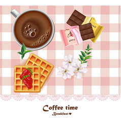 fresh coffee cup and waffles and chocolates vector image