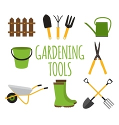 Gardening Tools Instruments Flat Icon Collection vector image vector image