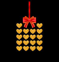 Gift card of glitter golden heart with red bow vector