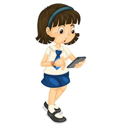 Girl with mobile vector image