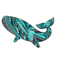 Hand drawn humpback whale vector