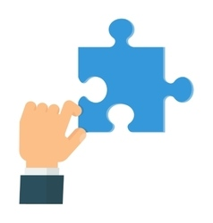 hand holdiding puzzle vector image