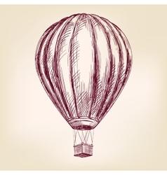 Hot air balloon airship or transport hand drawn vector image