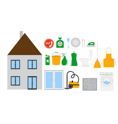 House cleaning tools icon set on modern flat style vector