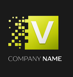 letter v logo symbol in the colorful square vector image vector image