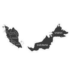 malaysia map labelled black vector image vector image