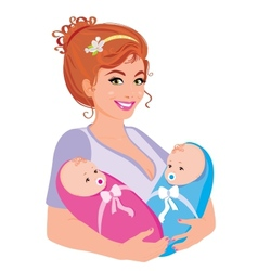 Mum with babies vector image vector image