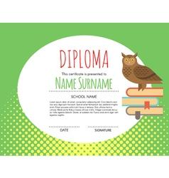 Preschool Elementary Kids Diploma certificate vector image vector image