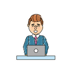 Profesional businessman with laptop and corporate vector