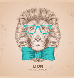 Retro hipster animal lion hand drawing muzzle of vector