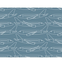 Seamless pattern with airplanes profiles vector