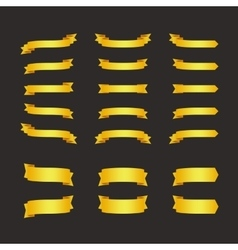 Set of golden ribbons on black vector