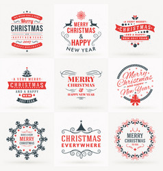 set of merry christmas and happy new year vector image vector image