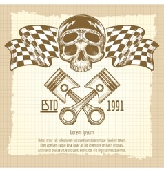 Sketch of vintage biker rider skull vector