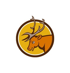 Stag Deer Buck Head Circle Cartoon vector image vector image