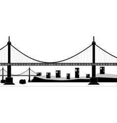 Suspension cable bridge vector