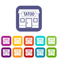 Tattoo salon building icons set flat vector
