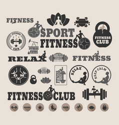 the set of fitness design elements vector image vector image
