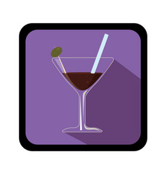 Tropical cocktail drink icon vector