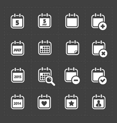 White calendar icons vector