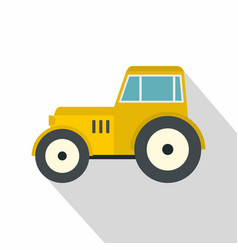 Yellow tractor icon flat style vector