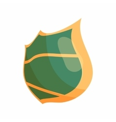 Green steel shield icon cartoon style vector