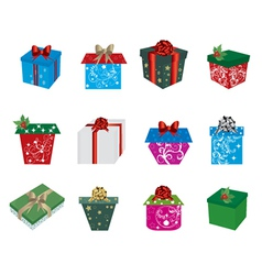Set of christmas presents vector