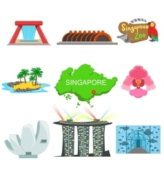 Singapore Touristic Symbols Collection vector image