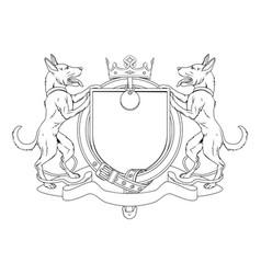 Dog pets heraldic shield coat of arms vector