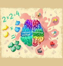 Cartoon creative cerebral thinking template vector