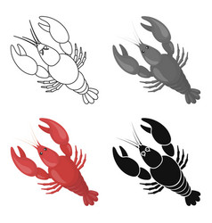 Boiled lobster icon in cartoon style isolated on vector