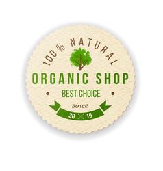 Organic shop paper label vector