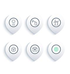 Power energetics energy production line icons vector