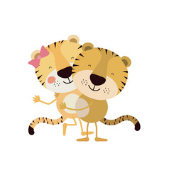 Colorful caricature with couple of tigers one vector