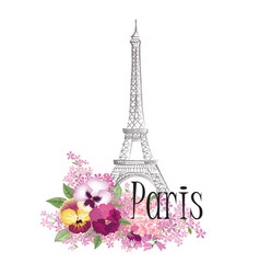 paris floral sign french landmark eiffel tower vector image